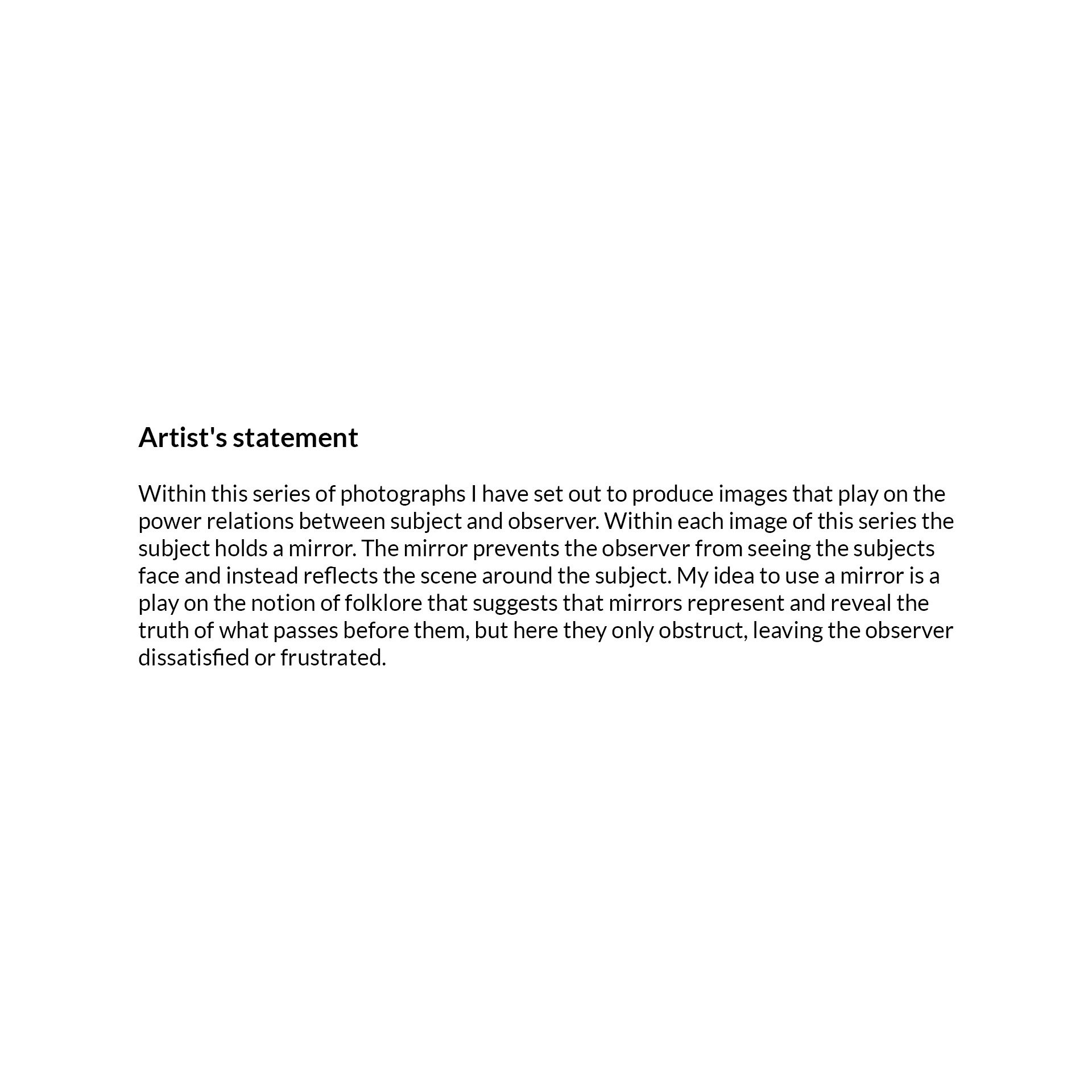 Artist's statement Primacy Subject