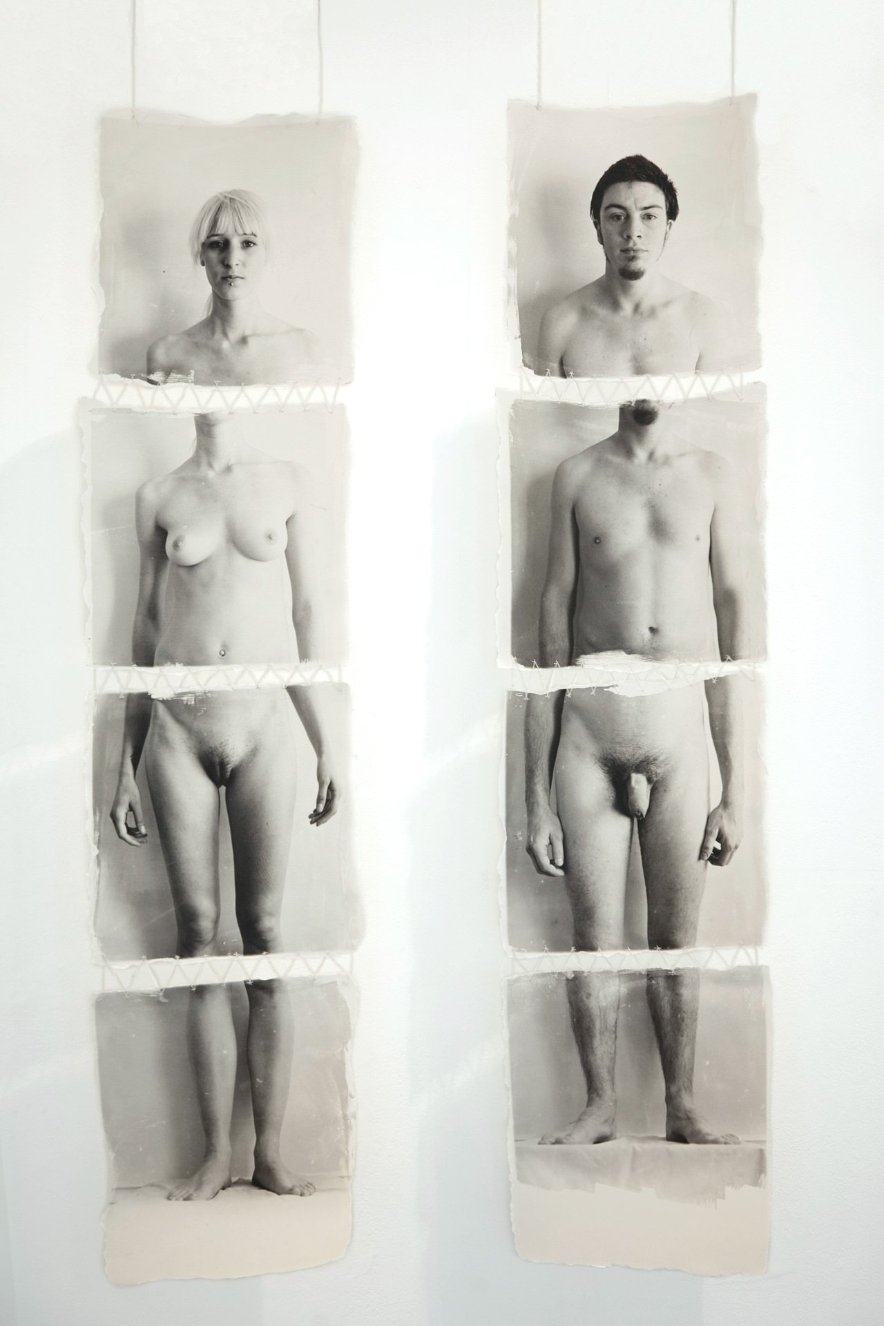 Separate B&W nude portraits of a man and a woman, broken up into four sections each, printed with liquid emulsion onto watercolour paper